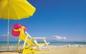 шезлонг, зонт, море, песок, ласты, шляпа, пляж