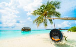 пальма, дом, качели, море