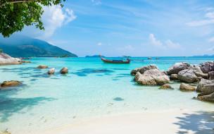 горы, небо, берег, лодка, тропики, море, камни