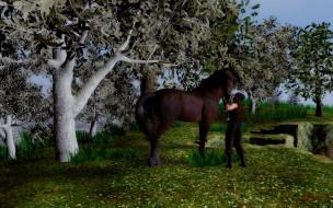 лошадь, мужчина, фон, взгляд