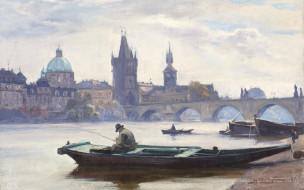 река, рыбак, мост, город