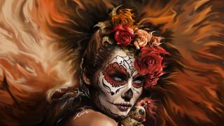 цветы, лицо, девушка, взгляд, день мертвых, арт