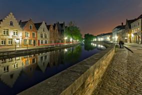 Брюгге, Бельгия, вечер, огни