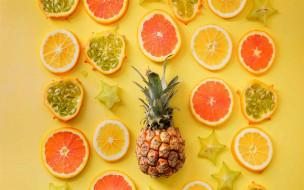 апельсин, ананас, карамбола