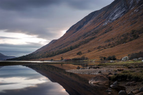 отражение, горы, озеро