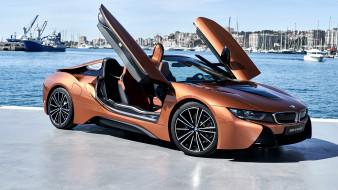 гавань, BMW i8, вид сбоку, Roadster, 2018