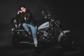 кожаные куртки, модель, шлем, чопер, черные куртки, мотоцикл, брюнетка, ali marel, wallhaven