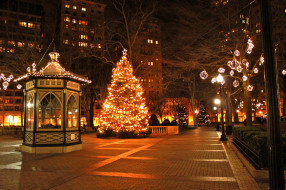 праздничные, новогодние пейзажи, гирлянды, беседка, елка