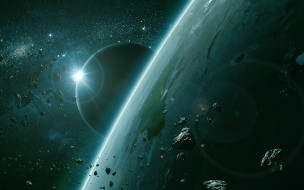 космос, арт, вселенная, планета, звезды