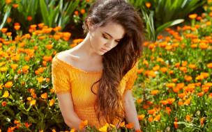 шатенка, топ, сад, цветы
