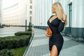 блондинка, blonde, портрет, черное платье, ожерелье, wallhaven