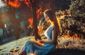 блондинка, Polina, платье, цветы, деревья