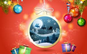 праздничные, векторная графика , новый год, игрушки, подарки, олени