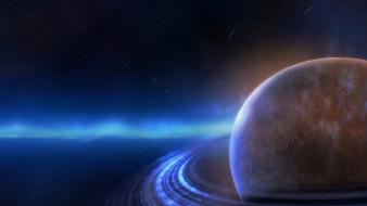 кольца, планета, звезды, свечение