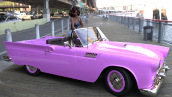 девушка, взгляд, фон, автомобиль
