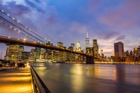 brooklyn bridge, города, нью-йорк , сша, простор