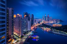 busan city,  south korea, города, - огни ночного города, простор