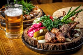 пиво, мясо
