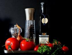 лук, масло, зелень, помидоры, перец