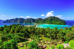 Тайланд, острова, пальмы, горы, море, зелень, леса