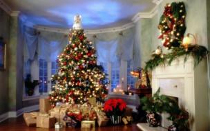 праздничные, Ёлки, подарки, елка