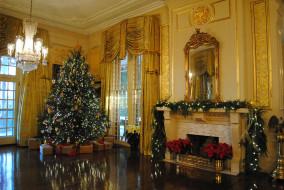 праздничные, Ёлки, камин, елка, гирлянда