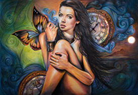 рисованное, живопись, девушка, фон, взгляд, бабочка