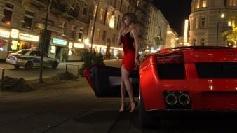 ночь, девушка, взгляд, город, автомобиль, фон