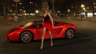 город, ночь, девушка, автомобиль, фон, взгляд