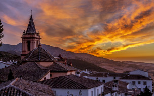 саара-де-ла-сьерра, испания, города, - пейзажи, закат, пейзаж, вечер, андалусия, spain, zahara, de, la, sierra, cadiz, andalusia