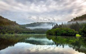 природа, реки, озера, отражение, река, туман
