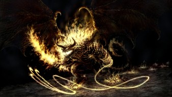 фэнтези, _lord of the rings, демон, плеть, крылья, огонь