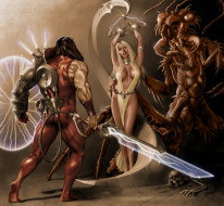 мужчина, девушка, существо, меч