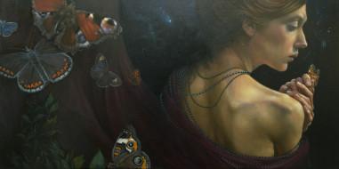 рисованное, живопись, девушка, бабочки, фон