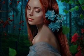 девушка, фон, цветы