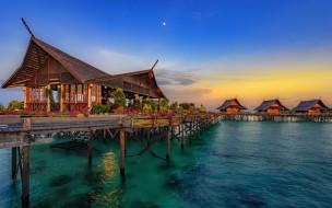 азия, гостиница, закат, китай, остров хайнань, бунгало