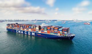 cma cgm antoine de saint exupery, корабли, грузовые суда, antoine, de, saint, exupery, cma, cgm, контейнерное, судно, бухта, корабль, контейнеры