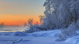 природа, зима, закат