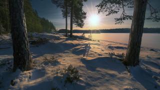 природа, восходы, закаты, зима, снег