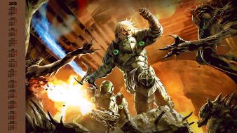 календари, видеоигры, существо, чудовище, оружие, мужчина, битва