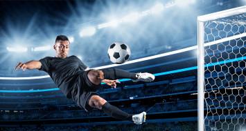 спорт, футбол, ворота, стадион, мяч, удар, футболист