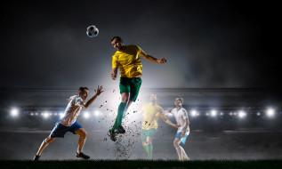 спорт, футбол, игра, футболисты, прыжок, огни, мяч