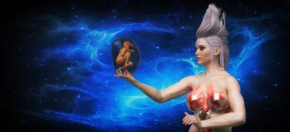 3д графика, фантазия , fantasy, фон, взгляд, девушка