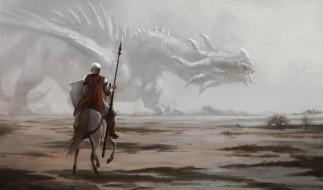 мужчина, фон, конь, дракон