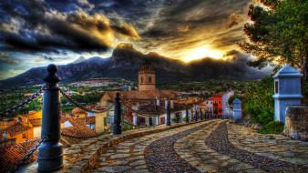 закат, восход, горы, дома, город, дорога