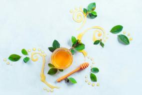 еда, листья, узор, мёд, натюрморт