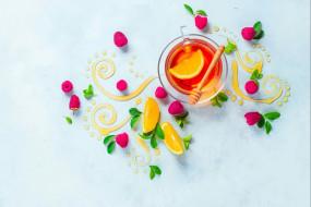 узор, натюрморт, мёд, листья, лимон, малина, еда