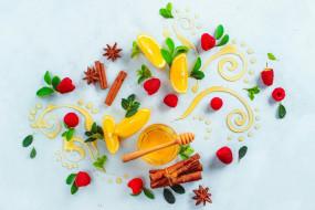 лимон, еда, натюрморт, малина, ваниль, корица, узор, листья, мёд