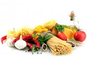 спагетти, чеснок, перец
