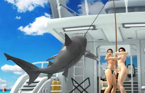 эро-графика, 3д-эротика, акула, фон, взгляд, девушки